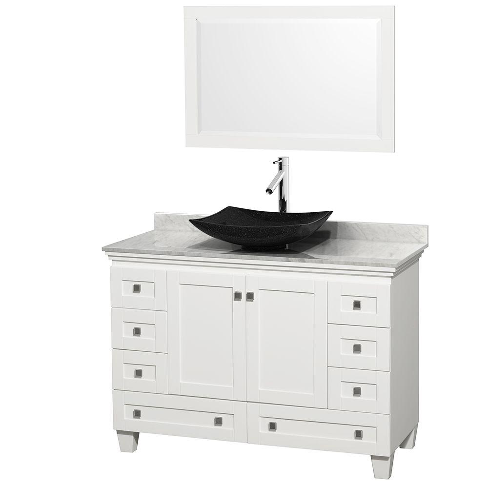 Wyndham collection acclaim 48 in w vanity in white with - White bathroom vanity with black top ...