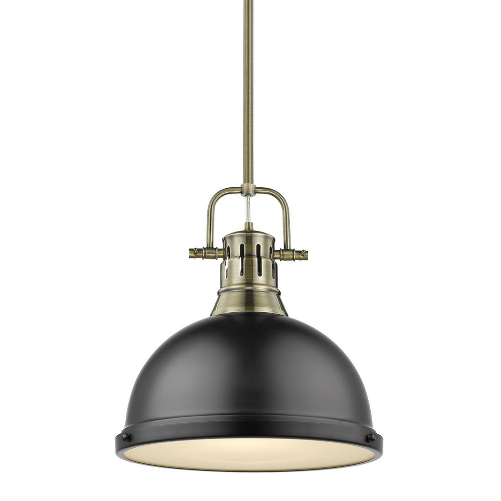 Golden Lighting Duncan 1-Light Aged Brass Pendant and Rod with Matte Black Shade