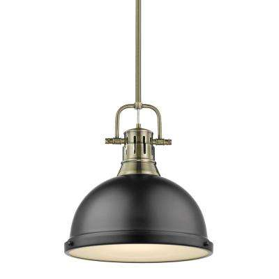 Duncan 1 Light Aged Br Pendant And Rod With Matte Black Shade