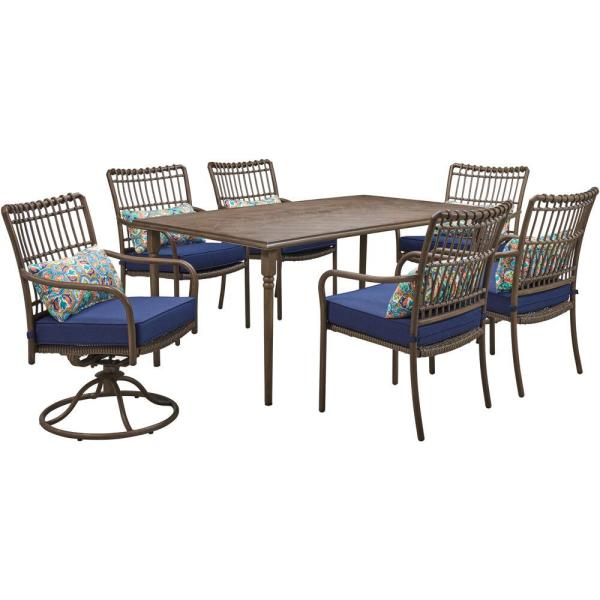Summerland Faux-Wood 7-Piece Aluminum Outdoor Dining Set with Navy Cushions, 4 Chairs, 2 Swivel Rockers and Table