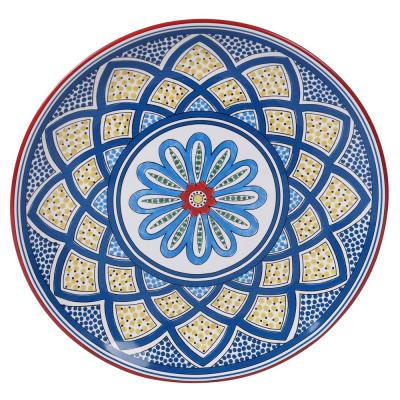 Tangier Multi-Colored 13 in. Earthenware Round Platter