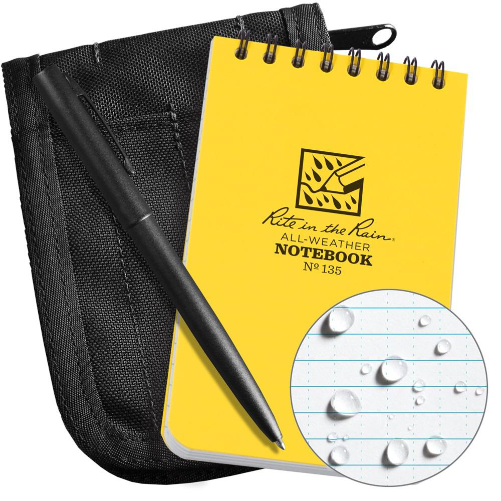 Rite in the Rain All-Weather 3 in. x 5 in. Top-Spiral Notebook Kit, Black CORDURA Fabric Cover and All-Weather Pen