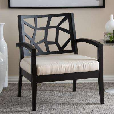 Jennifer Black and Beige Fabric Upholstered Accent Chair
