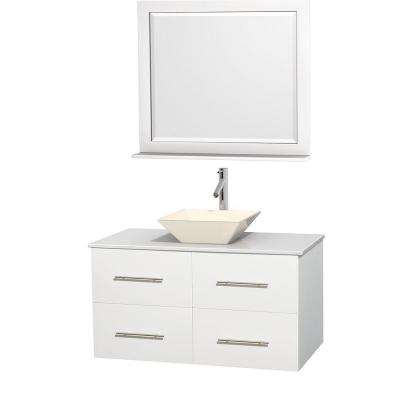 Centra 42 in. Vanity in White with Solid-Surface Vanity Top in White, Bone Porcelain Sink and 36 in. Mirror