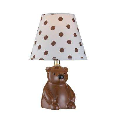 Designer Collection 14.75 in. Bear Ceramic Table Lamp with Polkadot Fabric Shade