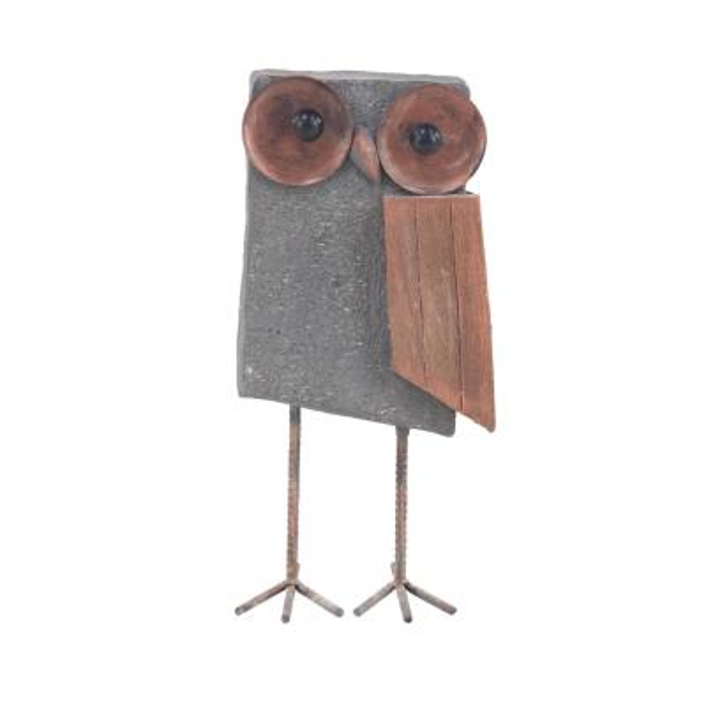 Farmhouse 18 x 8 inch Gray Distressed Polystone and Iron Owl Garden Sculpture