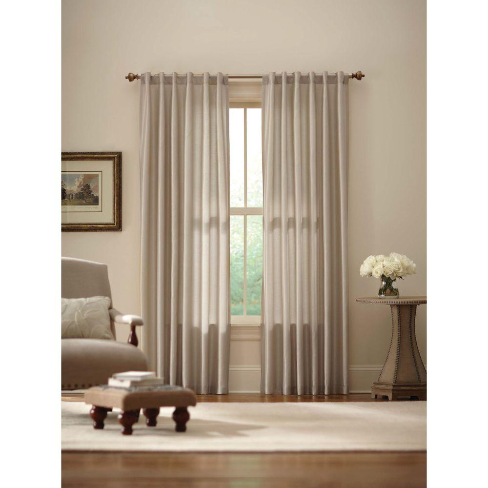 Home Decorators Collection Sheer Ivory Faux Silk Lined Back Tab Curtain 52 In W X 84 In L