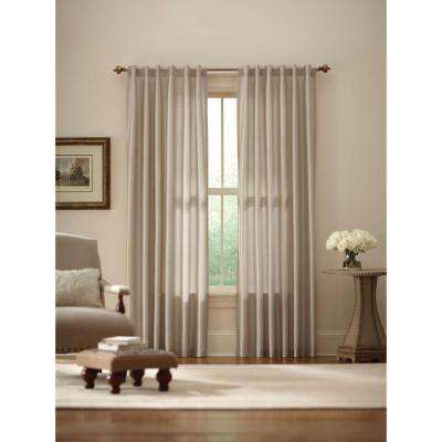 Sheer Ivory Faux Silk Lined Back Tab Curtain - 52 in. W x 84 in. L