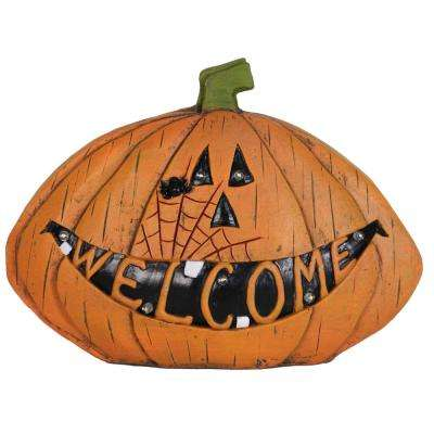 Welcome 11 in. Pumpkin Statue Battery Operated with Timer