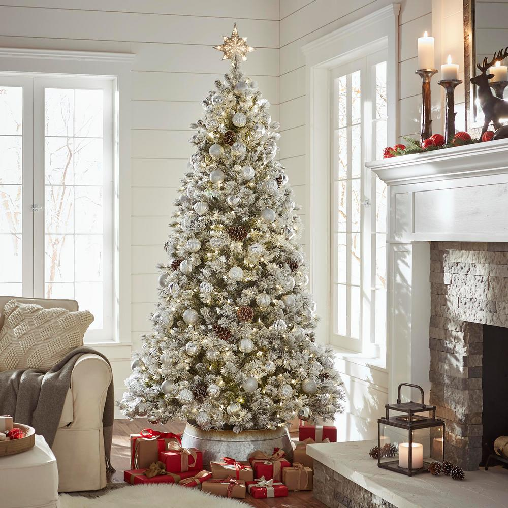 Christmas Tree Living.Home Accents Holiday 7 5 Ft Pre Lit Led Flocked Pine Artificial Christmas Tree With 500 Warm White Lights