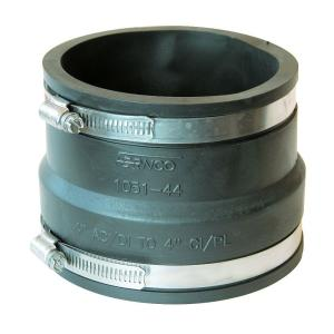 4 in  Ductile Iron and Asbestos Cement x 4 in  DWV Flexible PVC  Coupling-P1051-44 - The Home Depot