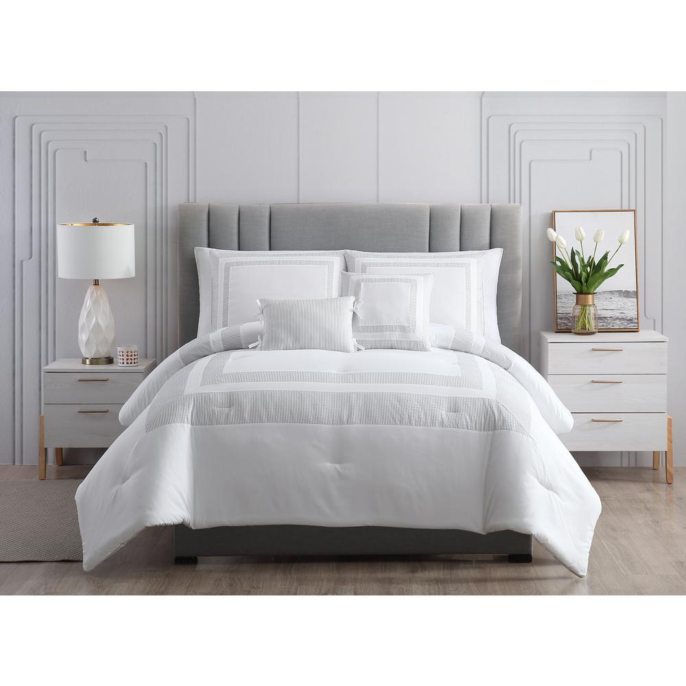 MHF Home Caleigh Gray Full/Queen Seersucker Hotel Comforter Set