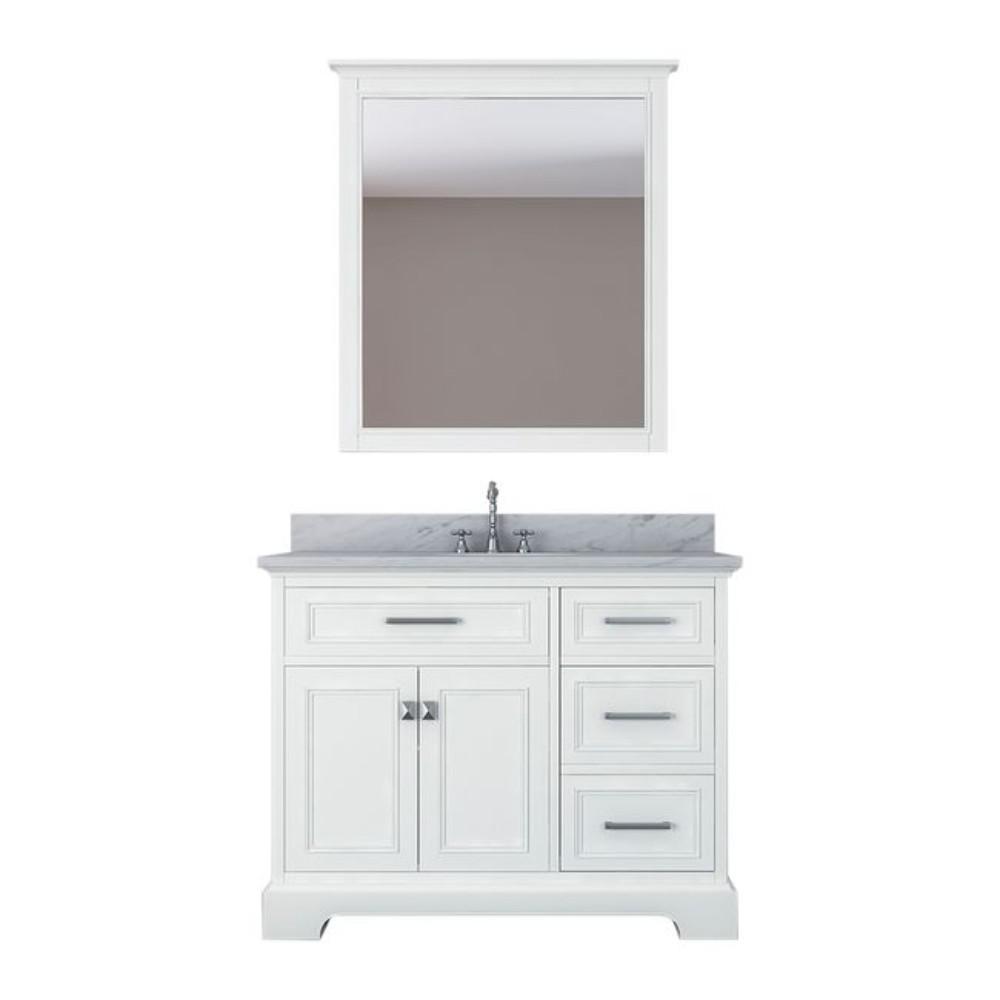 Yorkshire 43 in. W x 22 in. D Bath Vanity in White with Marble Vanity Top in White with White Basin and Mirror