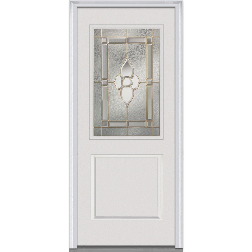 32x80 exterior door. 32 in  x 80 Master Nouveau Right Hand 1 2 Lite Panel Fiberglass Doors Front The Home Depot