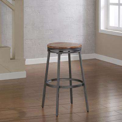 Stockton 25 in. Grey Backless Swivel Counter Stool