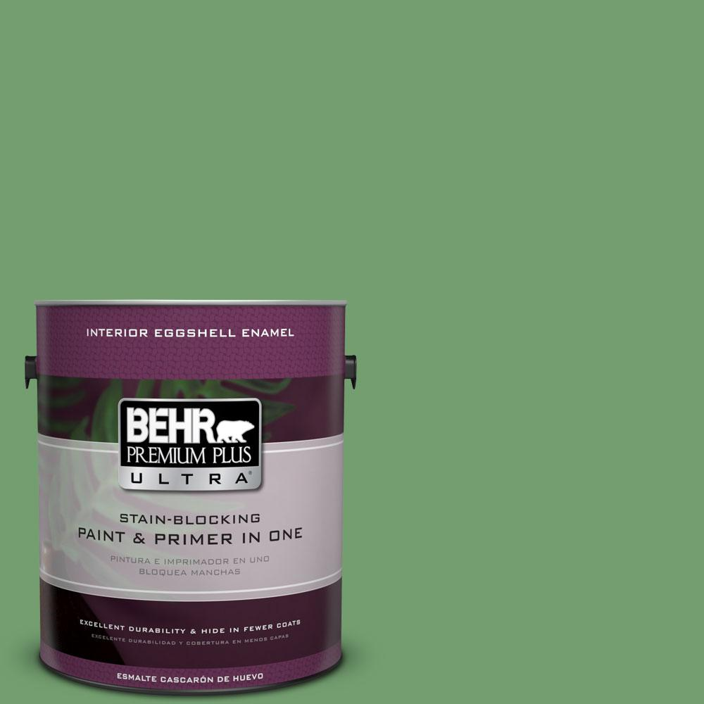 BEHR Premium Plus Ultra 1-gal. #450D-6 Shire Green Eggshell Enamel Interior Paint