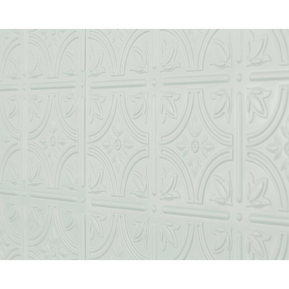 Innovera Decor by Palram Empire 18.5 in. x 24.3 in. PVC Backsplash Panel in Snow White (6-Piece)