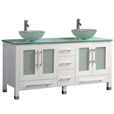 Caen 71 in. W x 20 in. D x 36 in. H Double Vanity in White with Tempered Glass Vanity Top with Glass Basin
