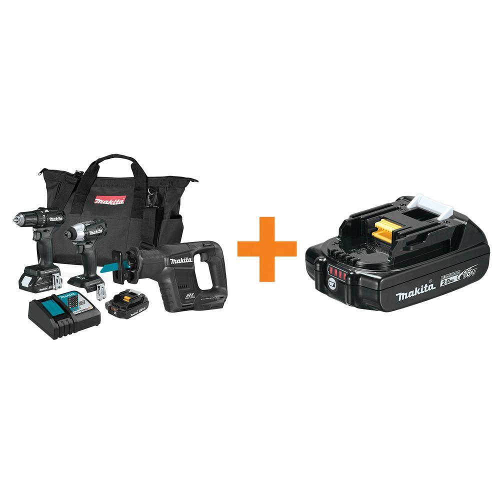 Makita 18-Volt LXT Sub-Compact Cordless 3-Piece Combo Kit Driver-Drill/Impact Driver/Recipro Saw 18-Volt LXT 2.0Ah Battery