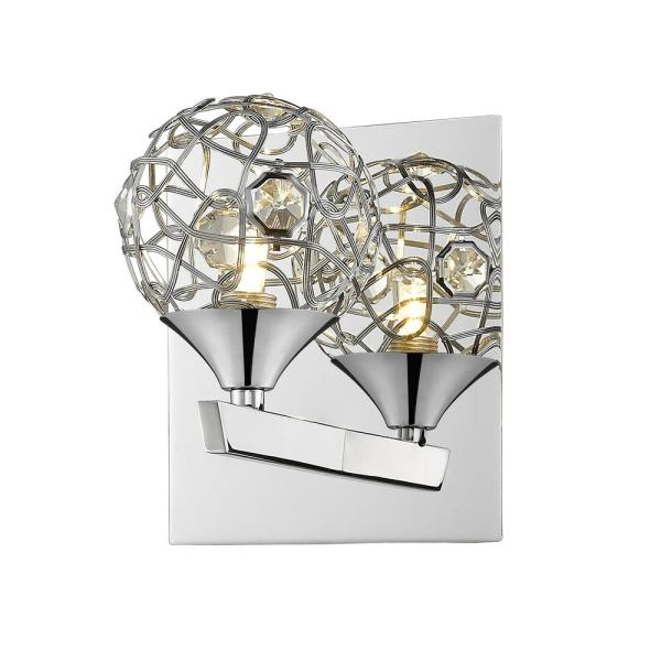 Magnolia 1-Light Chrome Wall Sconce with Clear Crystals