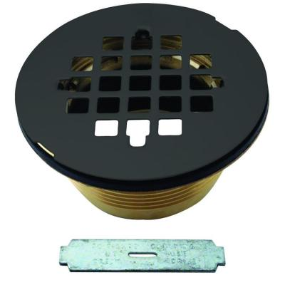 Compression Shower Drain with Grid in Matte Black