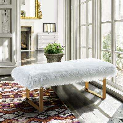 Zinna White Fur and Gold Stainless Steel Contemporary Bench