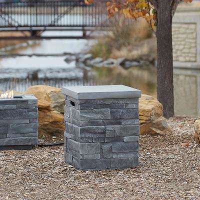 16 in. Ledgest 1 Propane Tank Cover in Gray Ledgestone