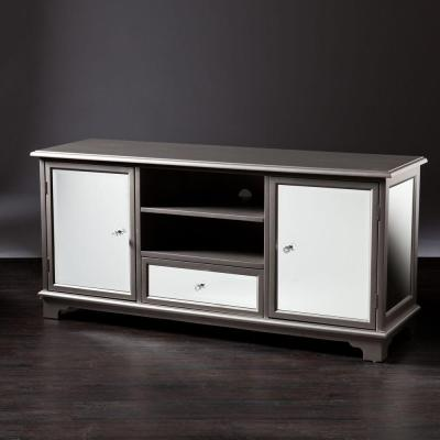 Pavel Mirrored and Silver Entertainment Center