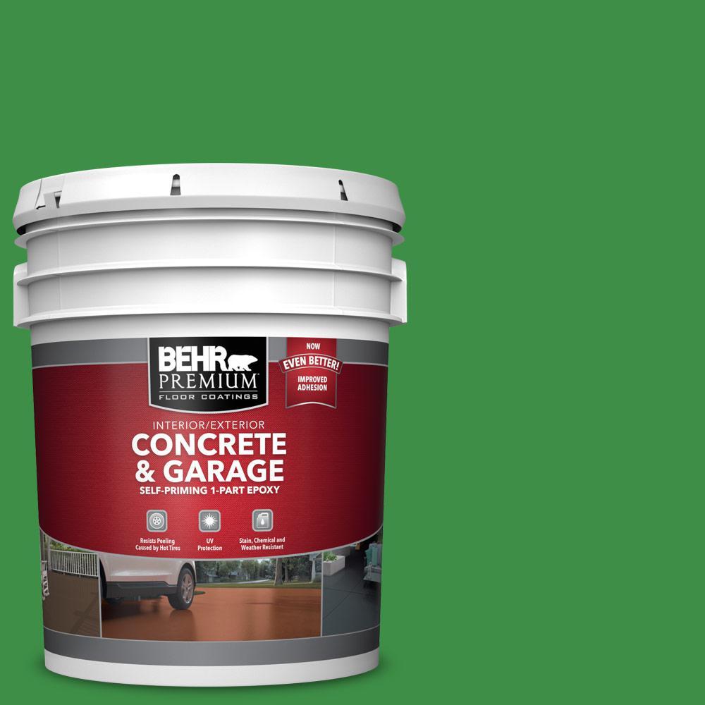 BEHR PREMIUM 5 gal. #P390-7 Park Picnic Self-Priming 1-Part Epoxy Satin Interior/Exterior Concrete and Garage Floor Paint