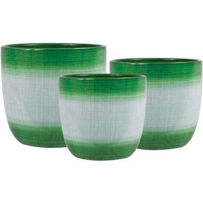 Holiday Jute 6.5 in. Dia, 5.5 in. Dia and 4.5 in. Dia Green Ceramic Pot (Set of 3)