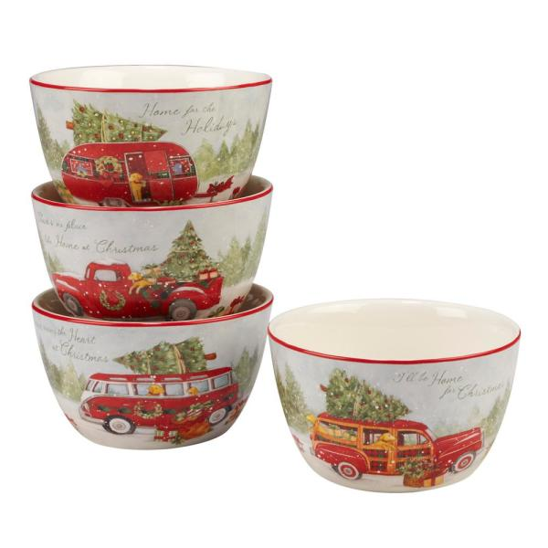 Certified International Home For Christmas Multicolor Dessert Bowl (Set of 4)