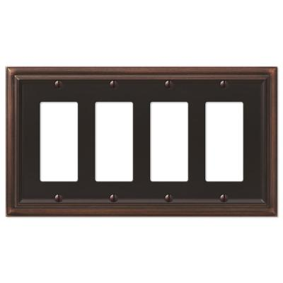 Continental 4 Gang Rocker Metal Wall Plate - Aged Bronze