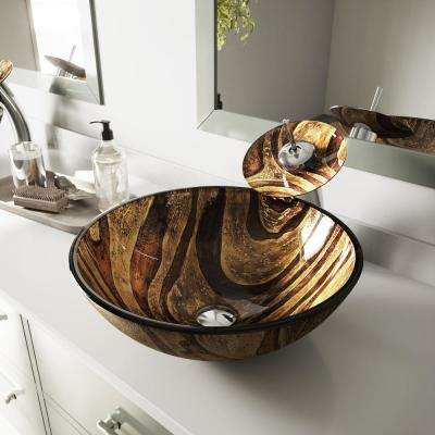 Zebra Vessel Sink in Multicolor with Waterfall Faucet in Chrome