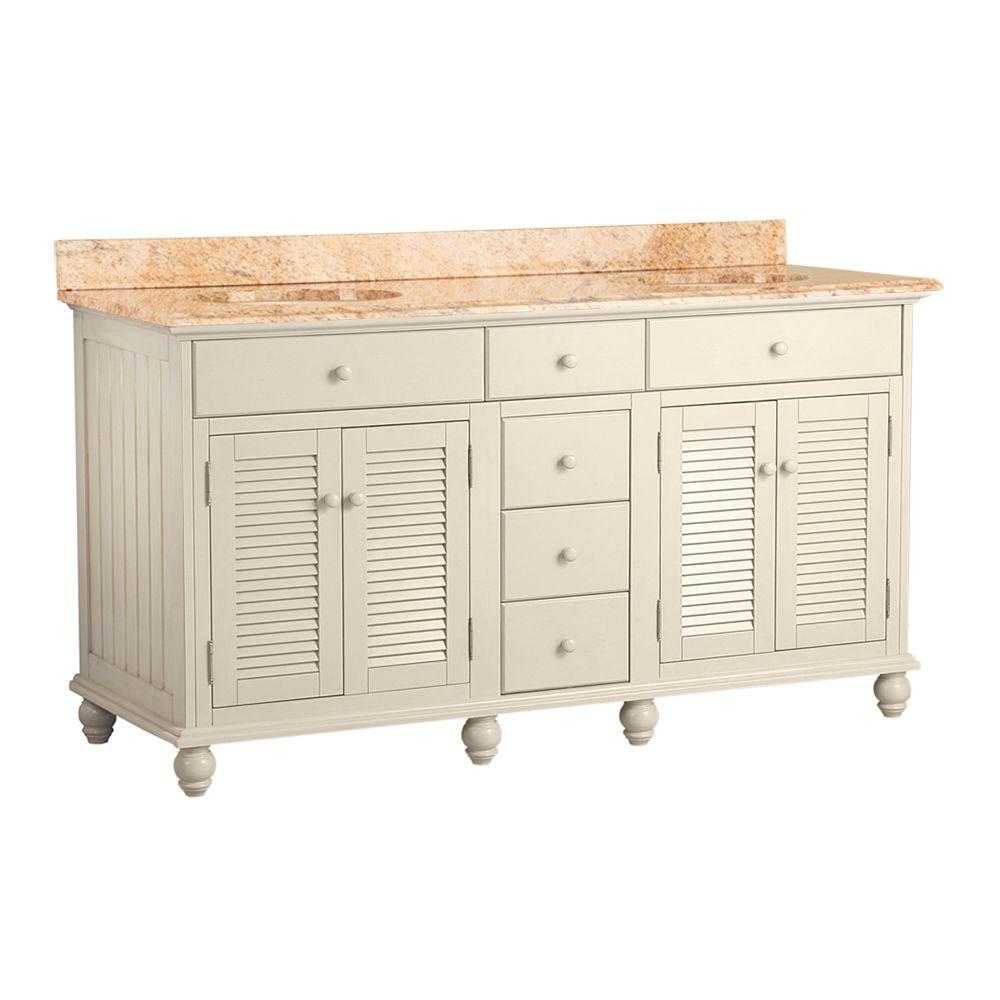 Foremost Cottage 61 in. W x 22 in. D Vanity in Antique White with Vanity Top in Tuscan Sun