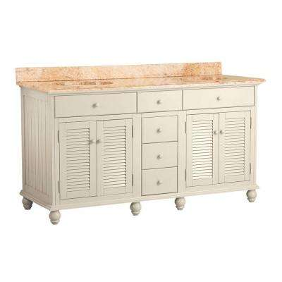 Cottage 61 in. W x 22 in. D Vanity in Antique White with Vanity Top in Tuscan Sun