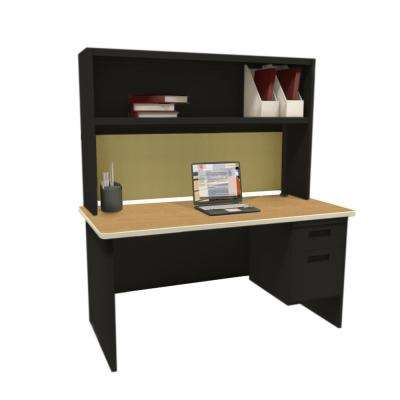 Black and Oak Palmetto 60 in. Single File Desk with Storage Shelf