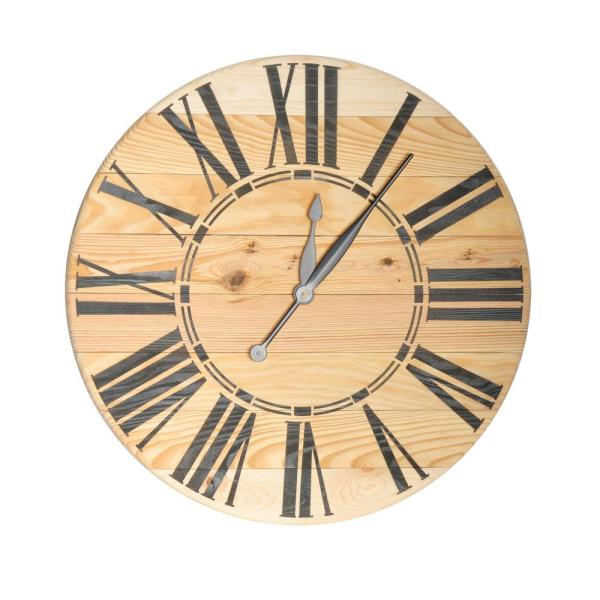 24 in. Oversized Natural Pine Farmhouse Wall Clock
