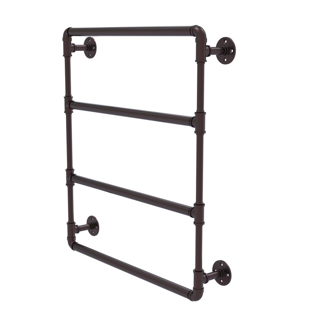 Pipeline Collection 30 in. Wall Mounted Ladder Towel Bar in Antique