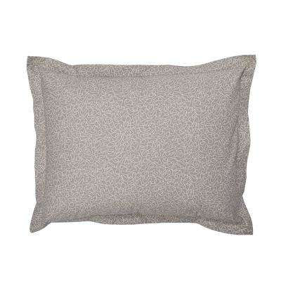 Scribble Taupe Organic Cotton Percale Standard Sham