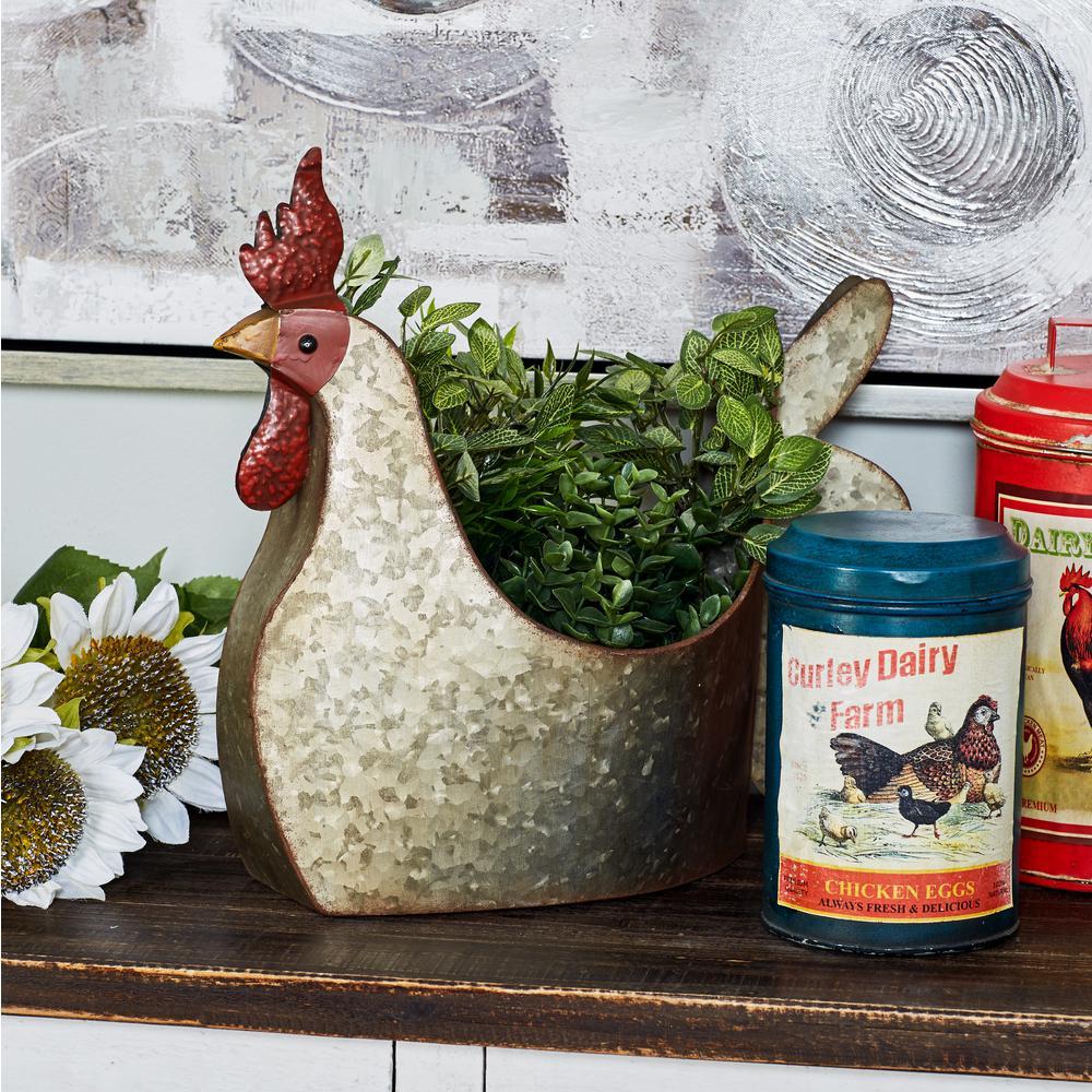 Gray Iron Chicken-Inspired Planter