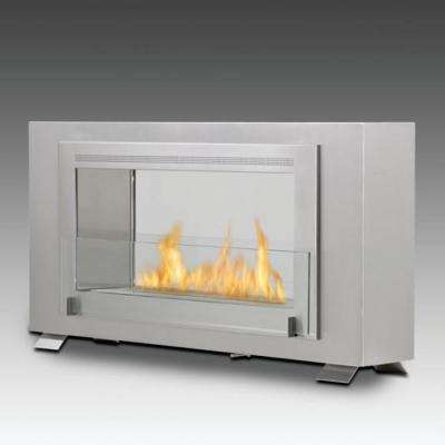 Montreal 2-sided 41 in. Ethanol Free Standing Fireplace in Stainless Steel