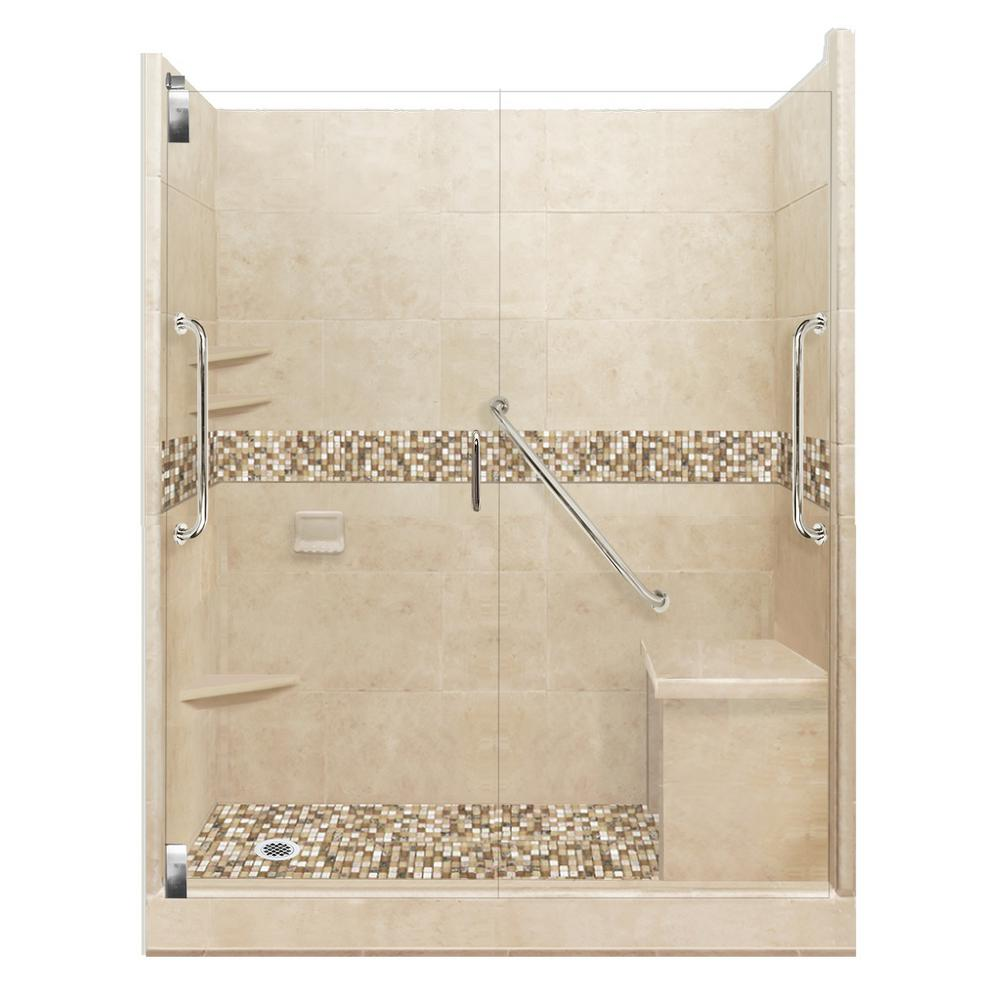 American Bath Factory Roma Freedom Grand Hinged 34 in. x 60 in. x 80 in. Left Drain Alcove Shower Kit in Brown Sugar and Chrome Hardware