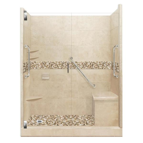 Roma Freedom Grand Hinged 36 in. x 60 in. x 80 in. Left Drain Alcove Shower Kit in Brown Sugar and Chrome Hardware