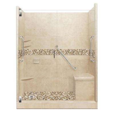 Roma Freedom Grand Hinged 42 in. x 60 in. x 80 in. Left Drain Alcove Shower Kit in Brown Sugar and Satin Nickel Hardware