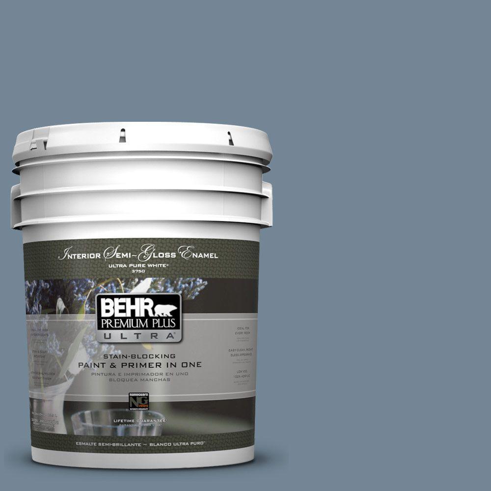 5 gal. #570F-5 Skipper Semi-Gloss Enamel Interior Paint and Primer in