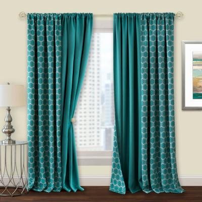 Prelude 50 in. W x 63 in. L Reversible Blackout Rod Pocket Curtain Panel in Turquoise
