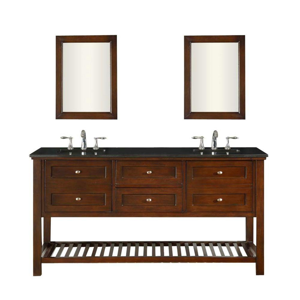 Direct vanity sink Mission Spa 70 in. Double Vanity in Dark Brown with Granite Vanity Top in Black and Mirrors