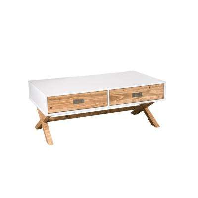 Barclay 1.0 2-Drawer White and Natural Wood Coffee Table