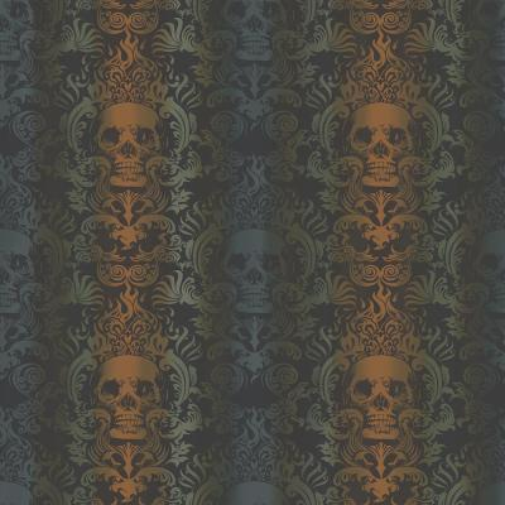 Luther Orange Skull Modern Damask Wallpaper Sample