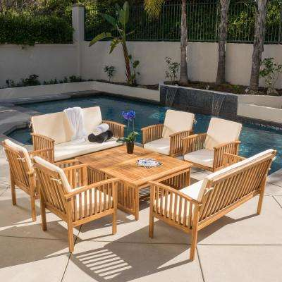 Thalia Brown 8-Piece Wood Patio Conversation Set with Cream Cushions - Waterproof - Outdoor Lounge Furniture - Patio Furniture - The Home Depot